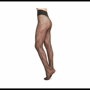 Swedish Stockings Edith Lace Tights Olive Sz Sm